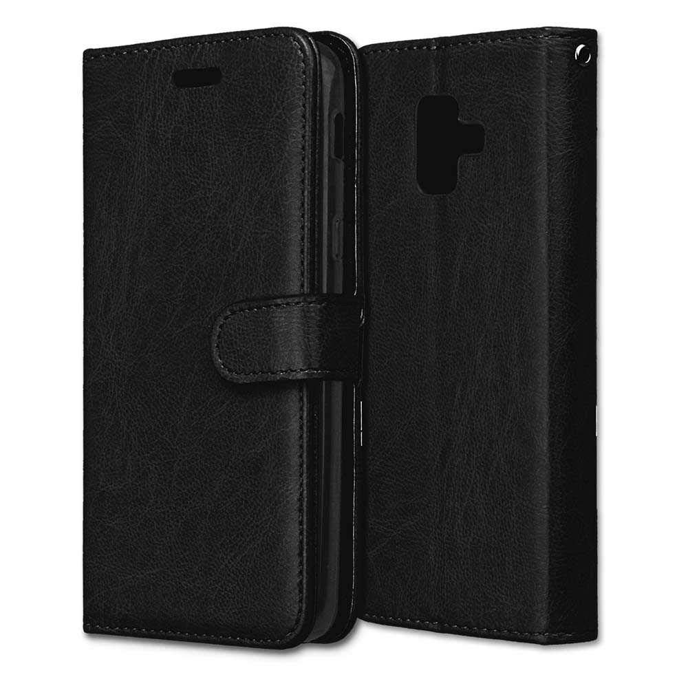 CAXPRO Galaxy A6 2018 Case, Shockproof Wallet Cover for Samsung Galaxy A6 2018, Slim Leather Notebook Style Case with Soft TPU Inner Bumper, Black by CAXPRO