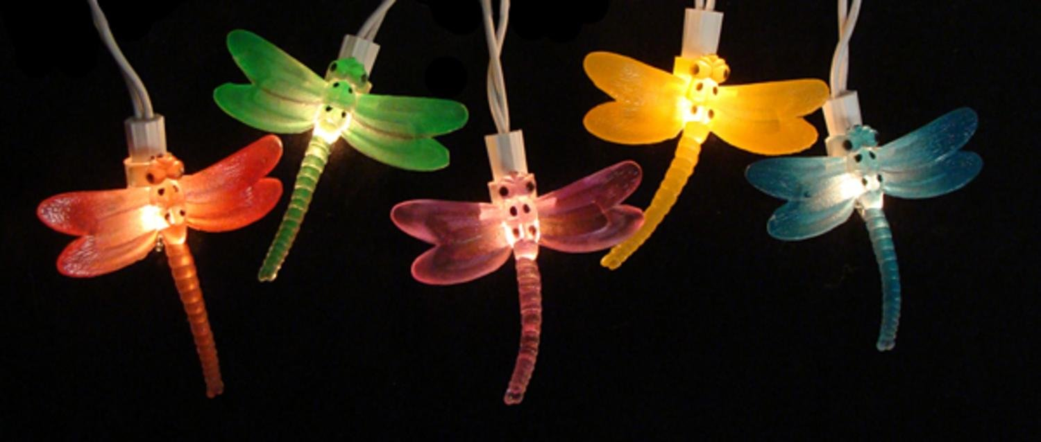 Amazon.com: Sienna Dragonfly Summer Garden Patio Christmas Lights With  White Wire, Set Of 10: Home U0026 Kitchen