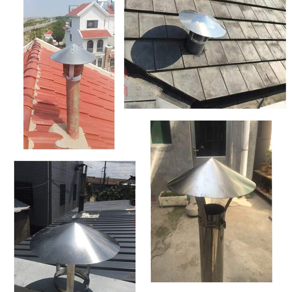 Stainless Steel Pipe Rain Cover Protector Cap Ending Roof Cowl for Ducting Ventilation Cap Rain Hat Hood,75mm LXLTL Chimney Cowl