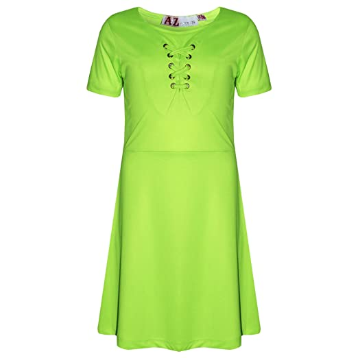 0df1232e00ff Girls Skater Dress Kids Neon Green Laces Detailed Summer Party Fashion  Dresses