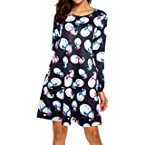 MERICAL New Christmas Dress Women Xmas Santa Printed Long Sleeve O Neck Outfit Elegant Cozy Flared