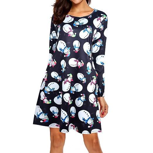 29c47f7081fb5 Amazon.com  Youngh Womens Dress Print Long Sleeve Loose Dress ...