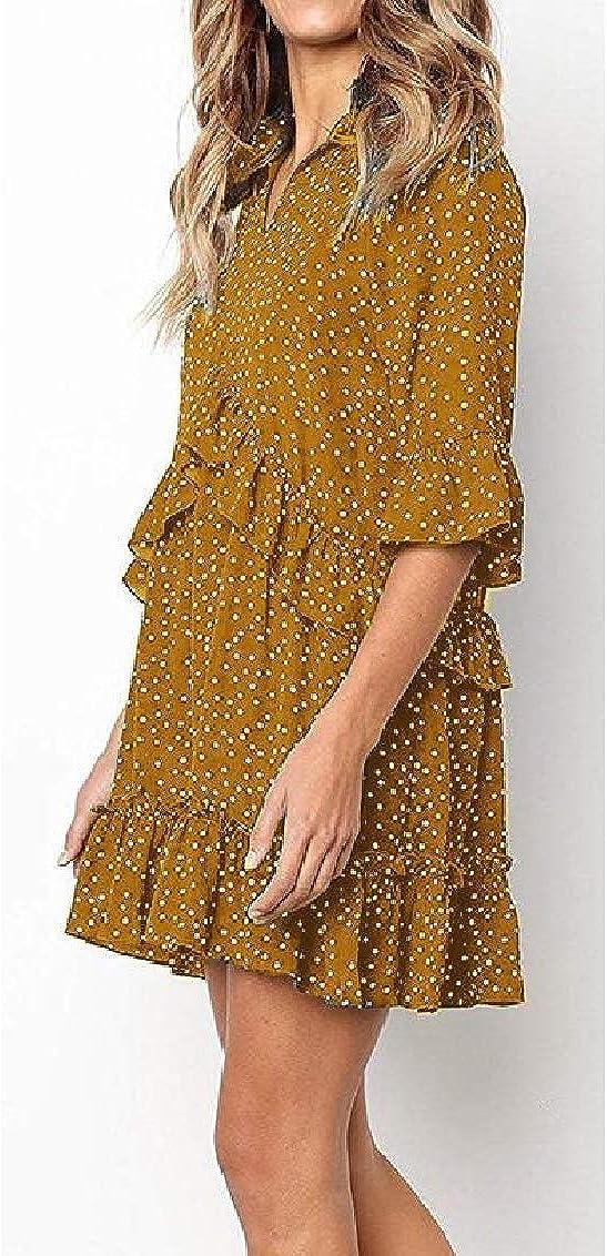 Womens Fashion Ruffle Polka Dot V Neck Loose Swing Casual T-Shirt Dress