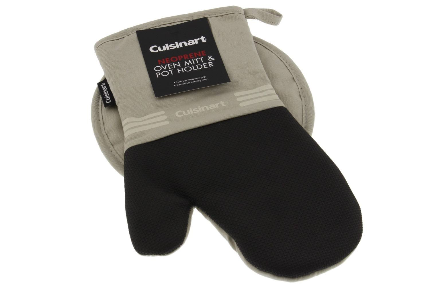 2pk Cuisinart Mini Oven Mitts w//Neoprene for Easy Gripping Heat Resistant up to 500 degrees F Tan