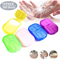 Shanglite 10 Set Portable Disposable Soap Paper, Travel Hand Washing Bath Scented Paper,Disposable Soap Paper 200 Sheets,Mini Paper Soap for Kitchen Toilet Outdoor Travel Camping Hiking