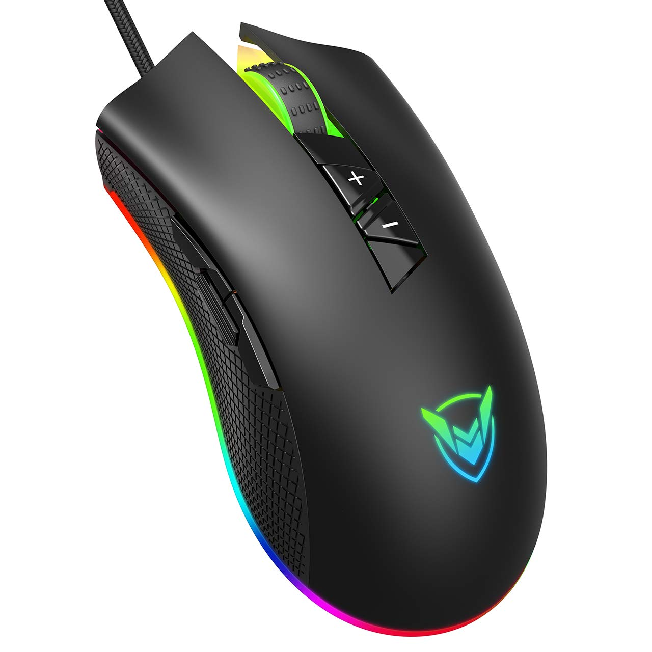 PICTEK Gaming Mouse Wired-Chroma RGB Lighting- High Precision 10,000 DPI Optical Sensor-Programmable Game Mice Design for Average Size Hand, PC Gaming Mouse with Long Braided Cord, Ideal for Pro Gamer