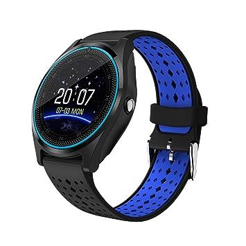 1,22-inch V9 Smart Watch, ultra-delgada táctil reloj Bluetooth con ranura para tarjeta de notificación de sincronización de salud reloj inteligente (Negro + ...