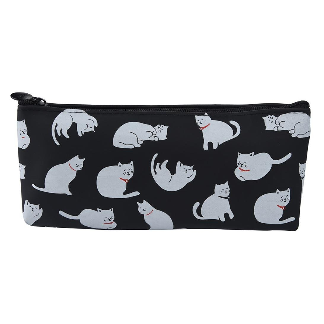 Tpingfe Cats Silicone Gift School Pen Case Cosmetic Makeup Storage Bag Purse (Black) by Tpingfe (Image #1)