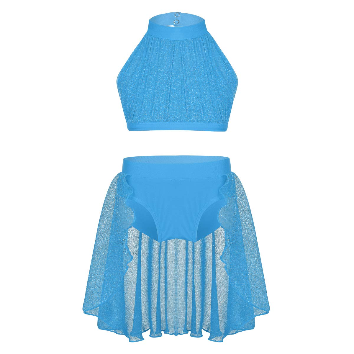 inlzdz Little Big Girls Lyrical Dance 2pcs Outfit High Turtleneck Crop Top with Skirted Bottoms Athletic Costume Sky Blue 3-4 by inlzdz