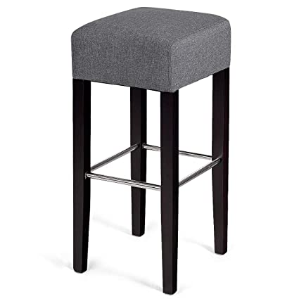Peachy Costway Fabric Bar Stool Modern Contemporary Bar Height Fabric Backless Padded Seat Pub Bistro Kitchen Dining Side Chair Barstools With Solid Wood Gmtry Best Dining Table And Chair Ideas Images Gmtryco