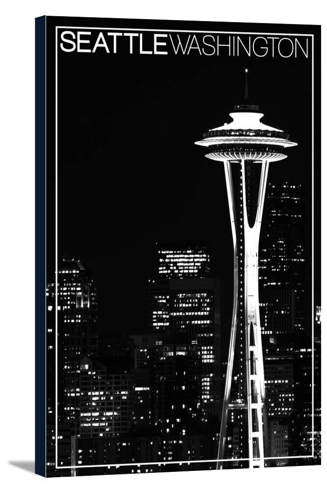 シアトル – スペースニードル、スカイラインat Night 12 x 18 Gallery Canvas LANT-3P-SC-35273-12x18 B018P5138E  12 x 18 Gallery Canvas