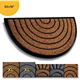 Extra Durable Half Round Door Mat Outdoor/Indoor - Rubber Doormat - Non-Slip Waterproof Entry Door Mat (30 x 18) Front/Back Doormat - Welcome Mat - Easy Clean Outdoor Doormat - Door Mats Outside
