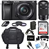 Sony Alpha a6300 ILCE-6300 4K Mirrorless Camera 16-50mm + 55-210mm Lens Bundle includes a6300 Camera, 16-50mm + 55-210mm Zoom Lens, Filter Kits, 32GB SDHC Card, Beachcamera Cleaning Cloth and More!