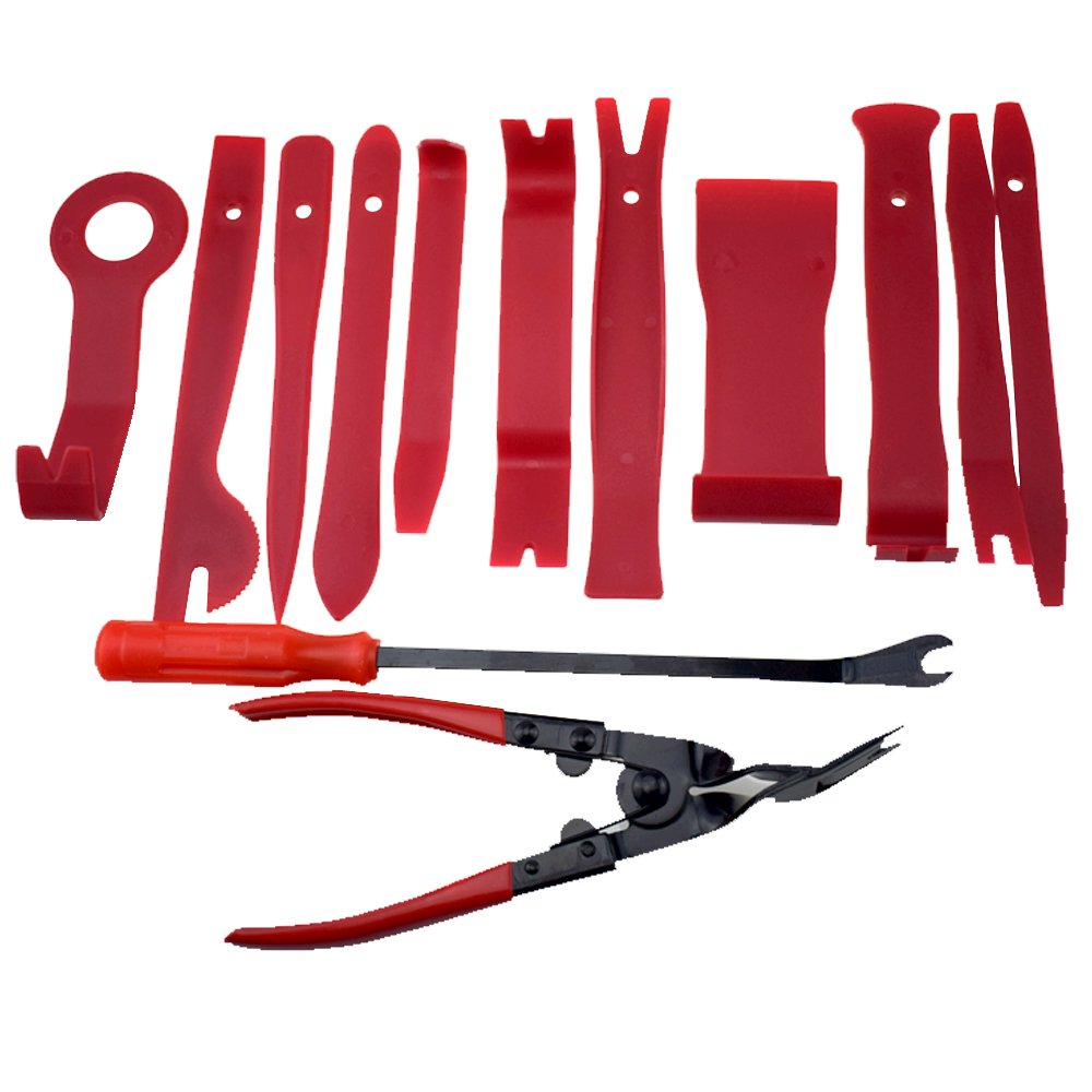 Auto Panels Trim Removal Tool , CHYIYI 13Pcs Trim Tool for Door Panel Removal Tools or Auto Upholstery Tools or Clip Plier Set