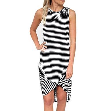 e93529742eb Amazon.com  Sleeveless Striped Round Neck Dress