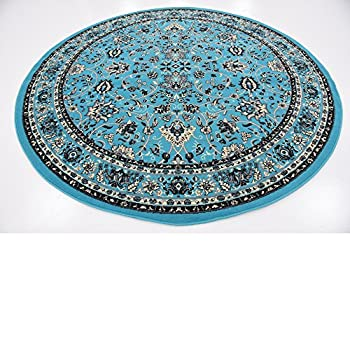 A2Z Rug 8-Feet-Round Covent Garden Persian Traditional Design Rug, Turquoise