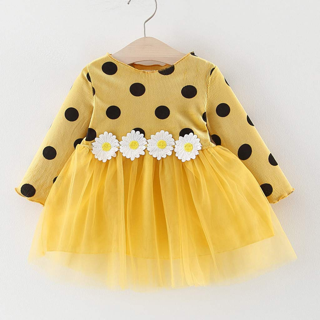 LEXUPE Kleinkind scherzt Baby-Sonnenblume-Patchwork-Prinzessin Party Dot Tulle Dress