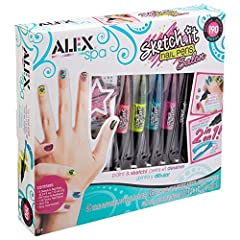 ALEX Spa Sketch It Nail Pens Salon lets you express your nail art creativity with 5 colors of 2 tip nail pens! One side is a brush to add lots of color to the nail and the other is a precision tip pen for adding tiny details to your art. Sket...