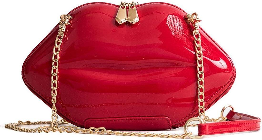 KNUS Women Lip Purses Evening Clutch Leather Lips-shaped Crossbody Bags Vintage Banquet Handbag