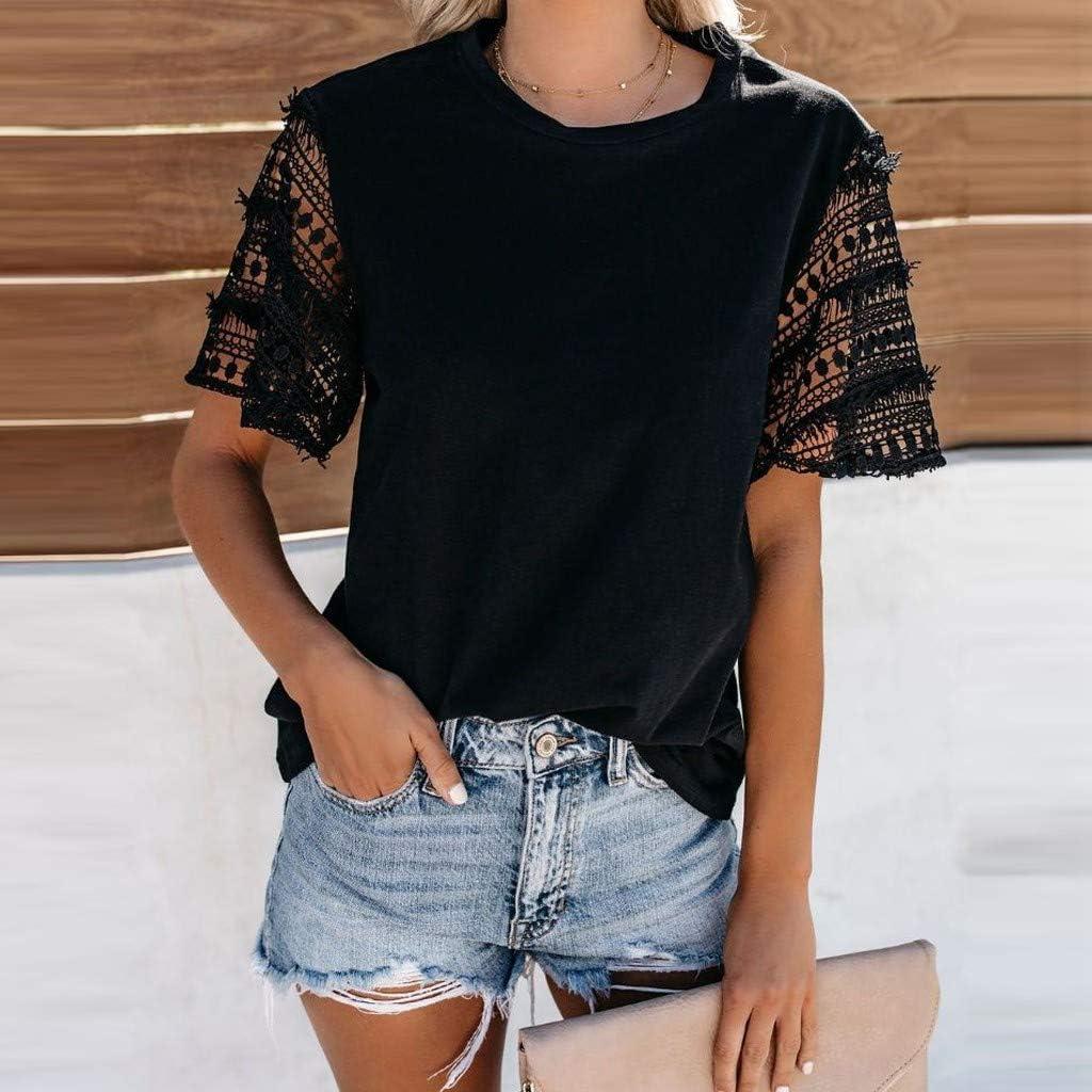 Darringls Camice Donna Eleganti Estive Bluse Magliette Donna Tumblr Moda Donna Estate 2019 Manica Corta Casual O Neck Lace Tee Popular Blouse Tops T-Shirt
