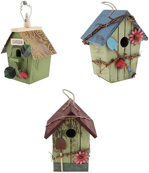 LOVIVER Casa de Aves, Caja de Pájaros, Casa de Pájaros Nido con Cable de Yute Bien Sujeto para Colgar - 3 Piezas - EDB: Amazon.es: Jardín