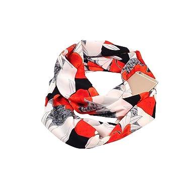 ALIKEEY Mujer Imprimir Invierno Convertible Infinity Bufanda Pocket Loop Cremallera Bolsillo S Lana Pelo Largo Masculino Unisex Corto PiñAs Calaveras BañO: ...