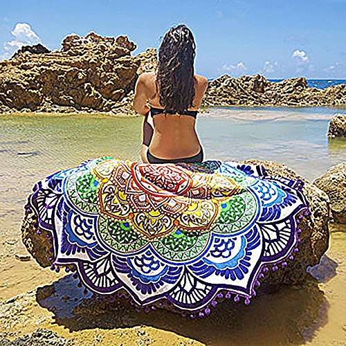 Amazon.com: ATAILORBIRD Beach Throw, Light Travel Throw Bohemian Pompon Tapestry Round Mandala with Multi Color Sunscreen Shawl Picnic Wall Decoration ...
