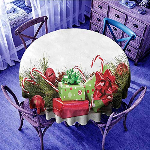 ScottDecor Christmas Outdoor Picnics Ornate Boxes with Dots Candy Cane Festive Wrapped Seasonal Elements Surprise Beach Round Tablecloth Fern Green Ruby Diameter 70