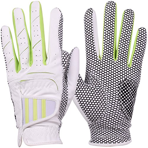 GH Women's Leather Golf Gloves One Pair - Three Lines Both Hands
