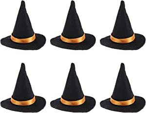 Amosfun 6pcs Mini Halloween Wine Bottle Covers Witch Hats Wine Bottle Decor for Halloween DIY Home Party Decorations (Black)