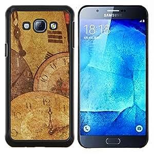 YiPhone /// Prima de resorte delgada de la cubierta del caso de Shell Armor - Tiempo Reloj ilustraciones Reloj Moderno Espiritual - Samsung Galaxy A8 A8000