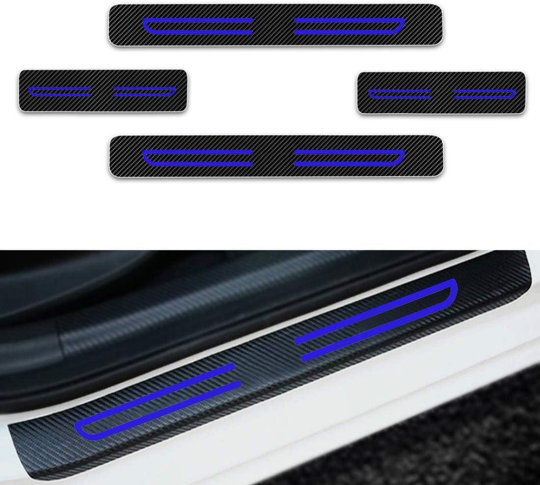 F/ür Colorado Captiva Cruze Lova Malibu Volt Einstiegsleisten Schutz Aufkleber,Verschlei/ß vermeiden Verhindern Sie Kratzer Rutschfest Kohlefaser 4St/ück Blau