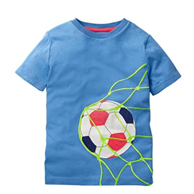Dinlong Summer Toddler Kids Baby Boys Girls Short Sleeve Football Print Tops  T-Shirt Blouse fcfcef458e50