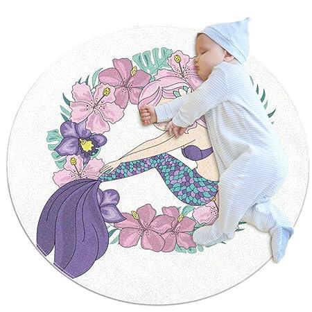 Wetia Corona de Sirena Blanca B4 Alfombra Redonda para niños ...