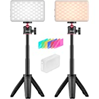 VIJIM 2 Packs Video Conference Lighting Kit,Rechargeable Bi-Color Laptop Lights for Remote Working,Portable Photography…