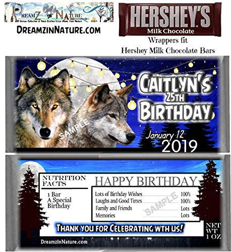 - Wolf Birthday or Anniversary Candy Bar Wrappers Favors