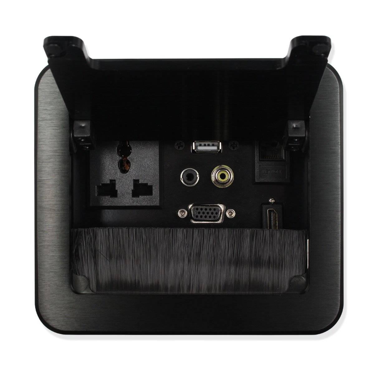 HDMI VGA AV USB cat5e 3.5mm Headphone Port Multimedia Desktop Socket,Brush flip Socket