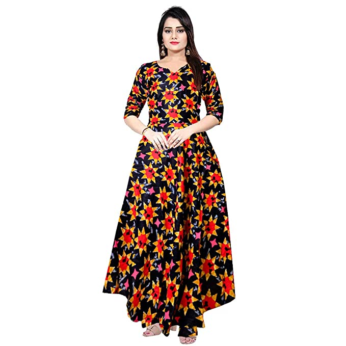 59e33cc76af Trendy Fab Women Fit and Flare Rayon Fabric Printed A-Line Maxi Midi  Western Long Gown Dress Yellow  Amazon.in  Clothing   Accessories