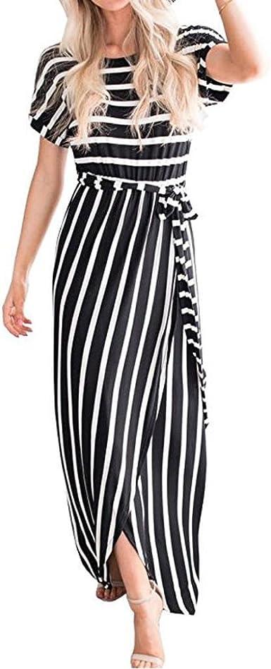 Amazon.com: ManxiVoo Women's Striped Front Slit T Shirt Maxi Dress ...