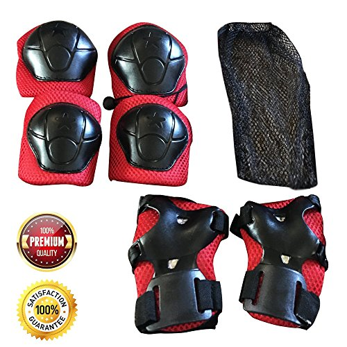 Knee Pads for Kids,  Elbow Pads, Wrist Guards with Adjustable Straps for Hoverboarding, Scootering, Biking and Roller Skating, Skateboarding Knee And Elbow Pads