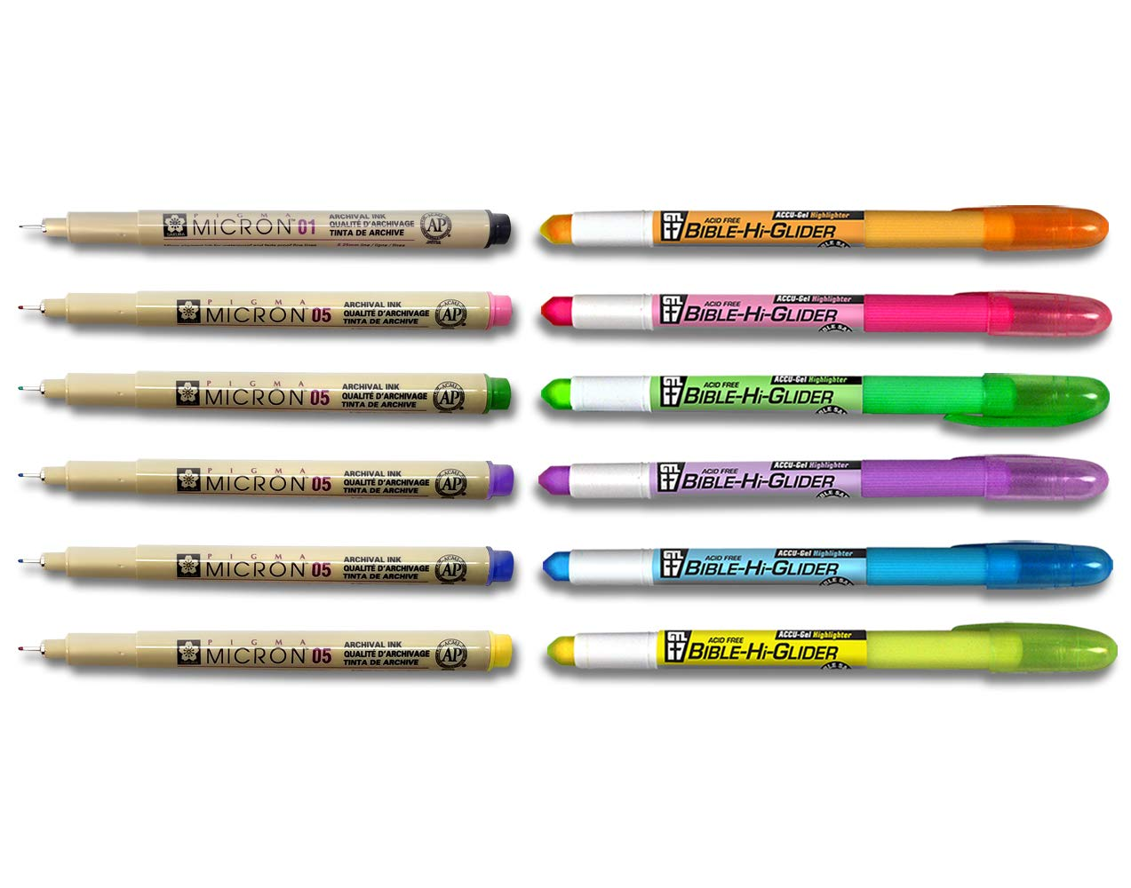 Accu-Gel Bible Highlighter Study Kit (Pack of 6) + Pigma Micron 01 Fine & 05 Medium Point Bible Study Kit (Set of 6) - The Deluxe Multi-Color Study Kit by G.T. Luscombe Company, Inc. (Image #2)