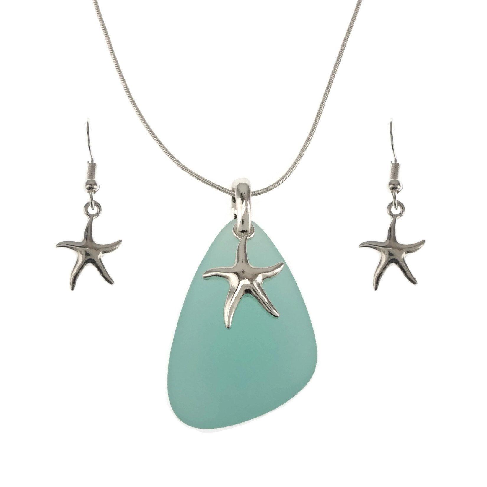 Jucicle Blue Sea Glass Pendant Long Necklace 27'' and Earrings Set (Starfish - Aqua)