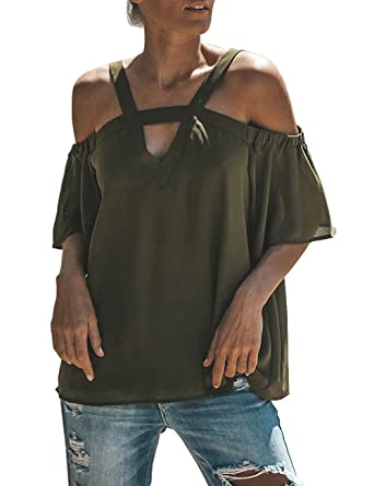 8aedd8589532d5 ISASSY Women Cold Off Shoulder Tops T-Shirt Summer Sexy V Neck Short Sleeve  Top Blouse  Amazon.co.uk  Clothing