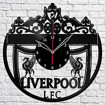 xiayanmei Liverpool Vinyl Registro de Pared Reloj Ventilador Art decoración Original Decorativo Reloj de Vinilo Negro 12