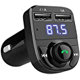 Jstbuy Dual USB Car Charger Hands-Free Wireless Bluetooth FM Transmitter and Mp3 Music Stereo Adapter Compatible with Android and iOS 2.1 A Dual USB Port which Supports TF Card and U Disk (Black)