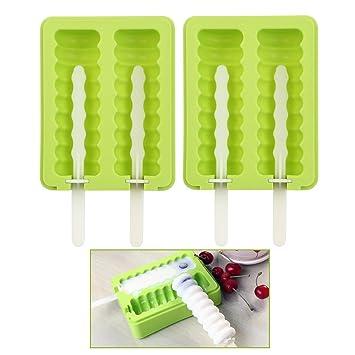 Huihuger Moldes de silicona para paletas de hielo con tapa (verde): Amazon.es: Hogar