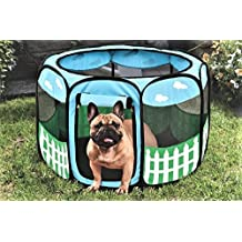 Pet Portable Foldable Play Pen Exercise Kennel Dogs Cats Indoor/outdoor tent for small medium large pets Animal Playpen with Pop up mesh cover great for travel LARGE by Etna