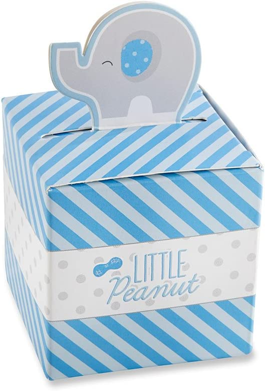 Kate Aspen Elephant Favor Box - Blue (Set of 24)