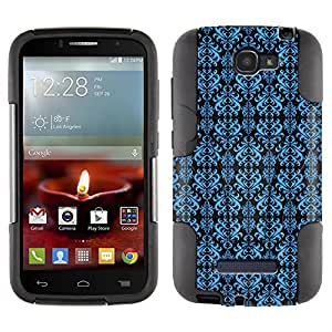 Alcatel One Touch Fierce 2 Hybrid Case Victorian Damask Blue on Black 2 Piece Style Silicone Case Cover with Stand for Alcatel One Touch Fierce 2