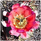3dRose dpp_32397_1 Decorative Colorful Garden Botanic Classic Plant SW Southwest Desert Cactus Red Gold Flower-Wall Clock, 10 By 10-Inch